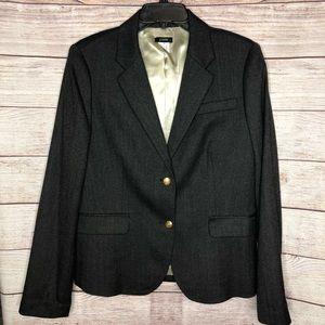 J. Crew - Dark Gray Wool Blazer with Gold Buttons